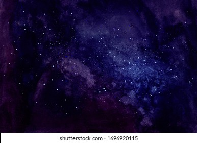 Cosmic watercolor illustration. Colorful space background with stars. Cosmonautics Day