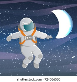 Cosmonaut in a white suit with orange straps looks right. Flying in weightlessness. A bright glowing moon in the night sky. Raster illustration of Cosmonautics Day.