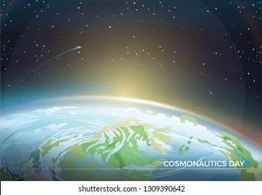 Cosmonautics Day themed poster with Earth part and bright Sun on horizon among bright stars in dark endless sky cartoon flat raster illustration.