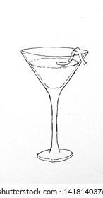 Cosmopolitan Cocktail black and white sketch illustration