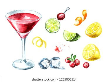 Cosmopolitan cocktail set. Watercolor hand drawn illustration, isolated on white background