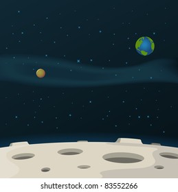 Cosmos Landscape/ Illustration of a cartoon moon surface with galaxy, milky way and planets behind for science fiction background
