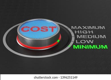 Cost button on dark background. 3D illustration