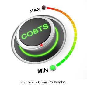 cost button position. Concept image for illustration of cost in the minimum position , 3d rendering