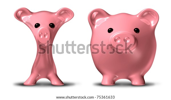 Cost cutting and budgeting before and after symbol represented by a skinny pink pig savings piggybank and a fat piggy that has gained much weight.