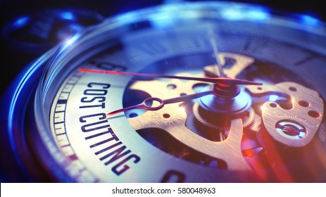 Cost Cutting. on Pocket Watch Face with Close View of Watch Mechanism. Time Concept. Vintage Effect. Pocket Watch Face with Cost Cutting Text on it. Business Concept with Vintage Effect. 3D.