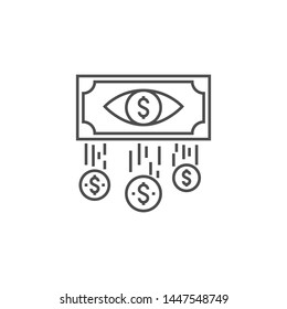 Cost Per Impression Related Thin Line Icon. Isolated on White Background. Editable Stroke. Illustration.