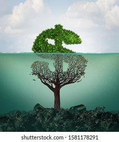 Cost of pollution and financial costs of polluted water contamination with hazardous industrial waste as a tree shaped as a dollar sign underwater with the toxic liquid with 3D illustration elements.
