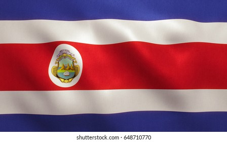 Costa Rica flag with fabric texture. 3D illustration.