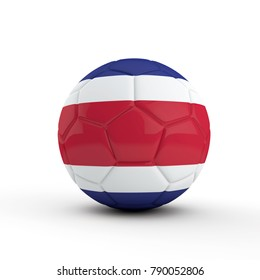 Costa Rica flag soccer football against a plain white background. 3D Rendering