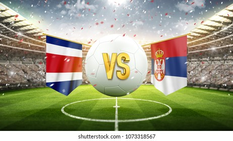 Costa Rica vs Serbia. Soccer concept. White soccer ball with the flag in the stadium, 2018. 3d render