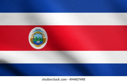 Costa Rican national official flag. Patriotic symbol, banner, element, background. Accurate dimensions. Correct size, colors. Flag of Costa Rica waving in the wind with detailed fabric texture, 3d