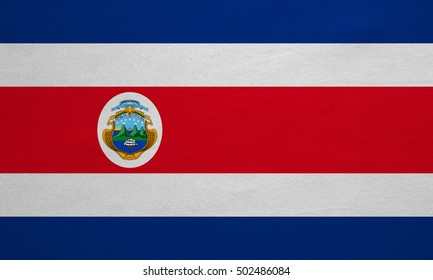 Costa Rican national official flag. Patriotic symbol, banner, element, background. Correct colors. Flag of Costa Rica with real detailed fabric texture, accurate size, illustration