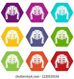 Costume of toreador icon set many color hexahedron isolated on white illustration