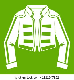 Costume of toreador icon white isolated on green background. illustration