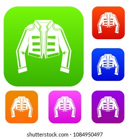 Costume of toreador set icon in different colors isolated illustration. Premium collection