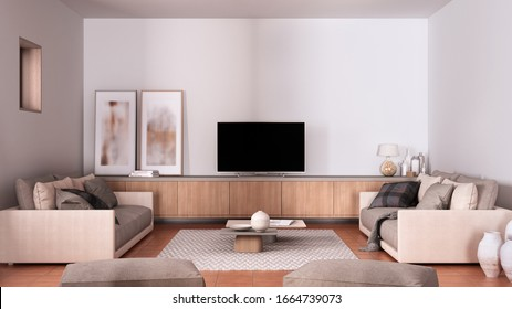 Cosy dove gray and beige living room with sofa and pillows, lounge, carpet, coffee table, blanket, pouf and decors, tv cabinet, terracotta tile floors, contemporary interior design, 3d illustration