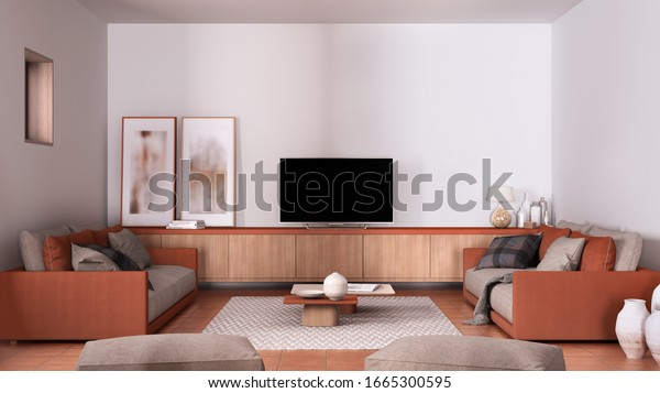 Cosy Orange Beige Living Room Sofa Stock Illustration 1665300595