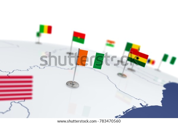 Cote Divoire flag. Country flag with chrome flagpole on the world map with neighbors countries borders. 3d illustration rendering flag