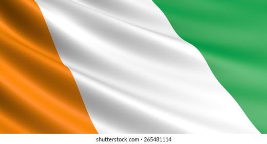Cote d'ivoire flag fluttering in wind.