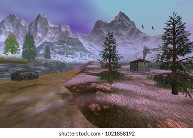 Cottage, 3D rendering, an alpine landscape, coniferous trees, muddy water in the river and birds in the sky.
