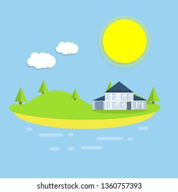 Cottage by the sea. Small house in nature. Country house by the lake. Summer season. Rest by water. Beautiful urban landscape. Hill and green forest.