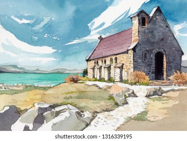 cottage by the sea watercolor painting