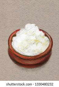 Cottage cheese in a ceramic pot. Color pencil drawing