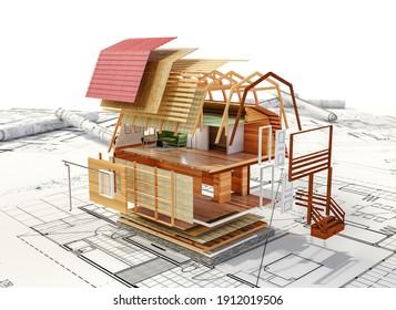 cottage construction on blue prints 3d illustration