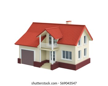 Cottage house with garage isolated on white. 3D rendering with clipping path