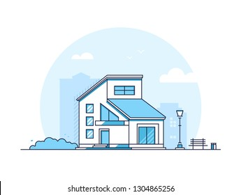 Cottage house - modern thin line design style illustration on white background. Blue colored high quality composition with a low-storey building, lantern, bench, bush, bin. City architecture