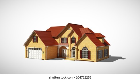 cottage with a red roof on a gray background