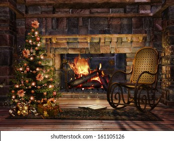 Cottage room with a fireplace, Christmas tree and a rocking chair