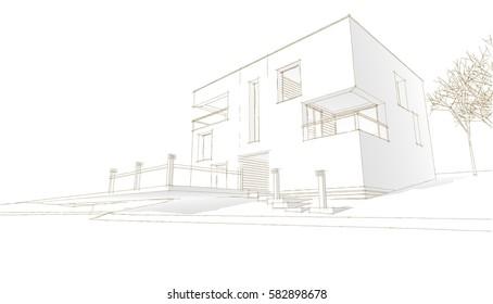 cottage, sketch, 3d illustration