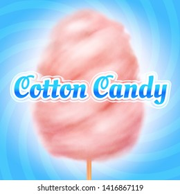 Cotton candy background. Candyfloss, kids sugar sweet dessert. Summer holiday poster. Illustration of candy cotton sweet, fluffy sugar snack