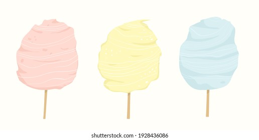 Cotton candy in different colors: pink, blue and yellow. Fair sweet street food for kids made with sugar. Flat style hand drawn design.