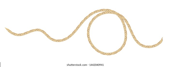Cotton curled rope isolated on white background