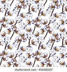 Cotton plant branches. Repeating pattern. Watercolor