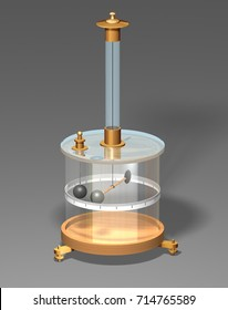 Coulomb's Torsion Balance. 3D illustration of the torsion balance apparatus on a gray background. Physics