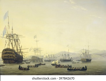 Council of War on board the 'Queen Charlotte', commanded by Lord Exmouth, prior to the Bombardment of Algiers, 1816, by Nicolaas Baur, 1818, Dutch painting, oil on panel