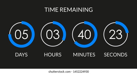 Countdown timer. Time counter with digital scoreboard. Time remaining display.