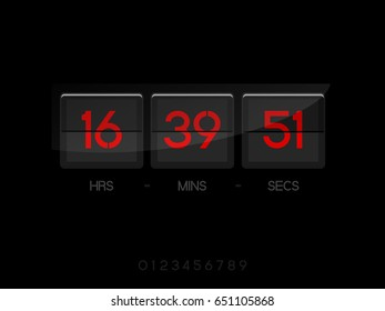 Countdown Timer for the website. Square section. Hours, minutes, seconds. black background Red numbers