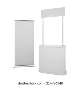 Counter and banner. 3d illustration isolated on white background