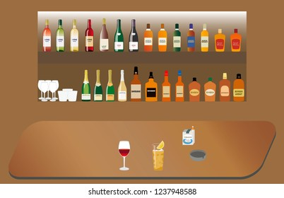 Counter of the bar