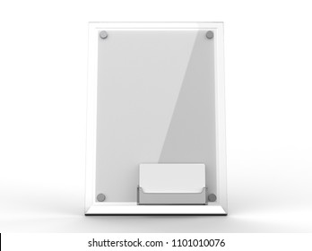 Counter top Acrylic Sign Display with Calling or Business Card Tray or card holder. 3d render illustration.
