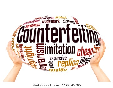 Counterfeiting word cloud sphere concept on white background.