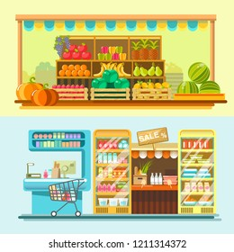 Counters of shop or store and supermarket product  flat displays