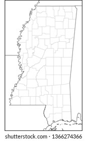 Counties of Mississippi map