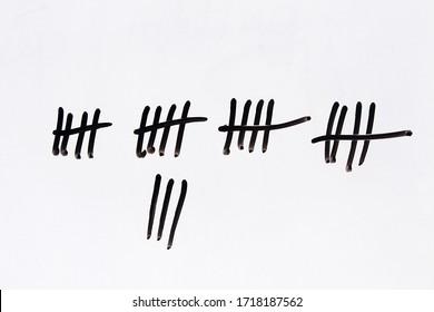 Counting days. Handwritten on white background. Coronavirus lockdown concept.