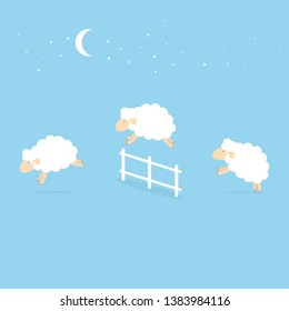 counting sheep jumping over the fence. Clipart image